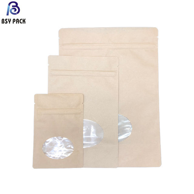 Biodegradable food grade zipper standing pouch aluminum foil kraft paper packaging bag with clear window