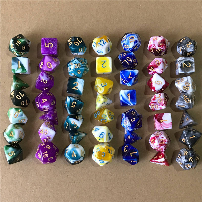 Polyhedral Game Dice Dungeon Dragons Table Board Roll Playing Games Colorful Acrylic Number Dices Children Toys Kimter-K209FA
