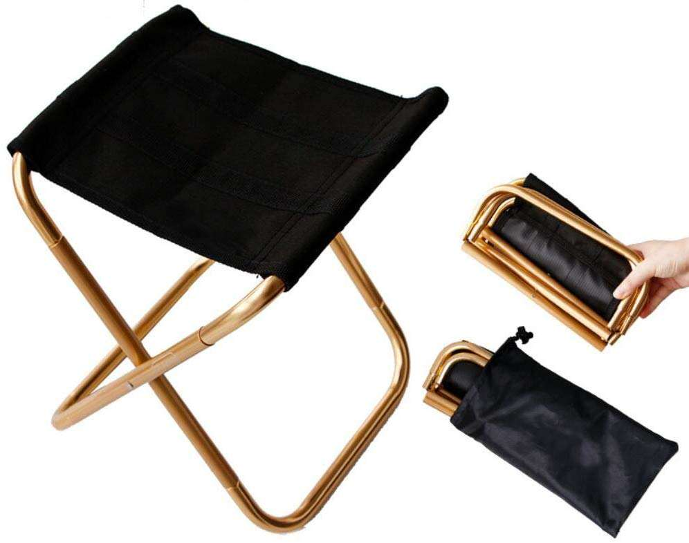 Gold Mini Small Lightweight Portable Aluminum Compact Ultralight Outdoor Camping Chair Folding Stool
