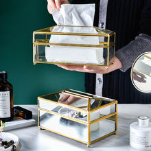 Tissue Box New Modern Home Decorative Container Luxury Gold Facial Car Holders Cover Metal Mirror Acrylic Glass Paper Tissue Box