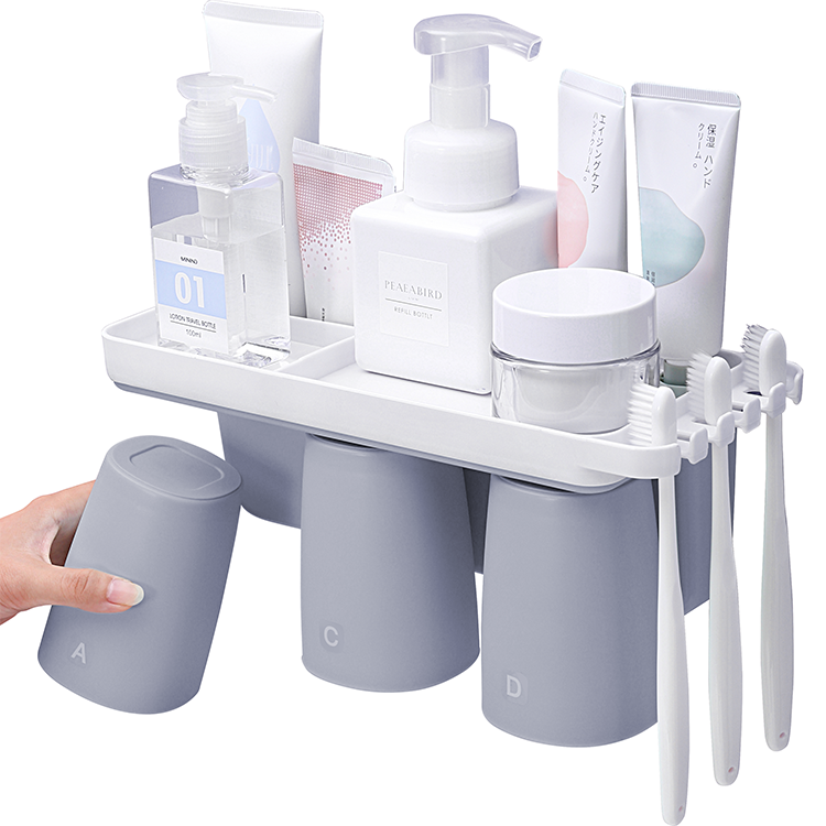 New Products Ideas 2020 Bathroom Accessories Eco-friendly Home Hotel Adult Kid Toothbrush Holder Couple cup Storage