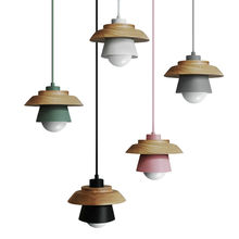 New innovative promotional products Customized coffee shop decorative hanging light wood lampshade nordic pendant light