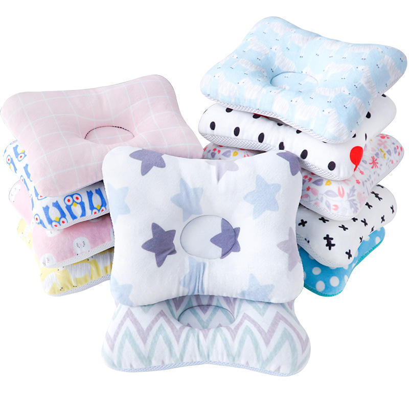 Healthy Breathable Organic Cotton Baby Protective Flat Head Baby Pillow for Newborn Infant