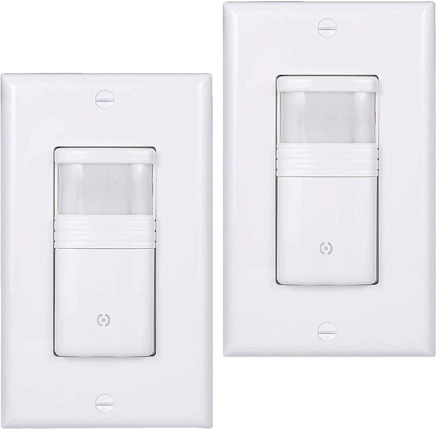 American Sensor Light Switch, PIR Infrared Motion Activated Wall Switch, Single Pole for CFL/LED/Incandescent Bulb, Wal