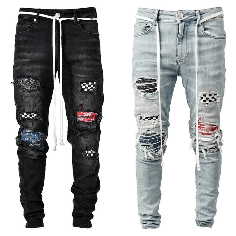 Fashion High Quality Stylish Black Stacked Belt Super Skinny Men Ripped Street Wear Damage Denim Pants Clothes And Jeans