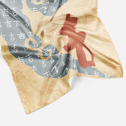 Golden Ji 100% Silk Scarves with Chinese Calligraphy for Best Wishes