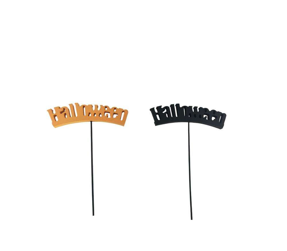 Halloween letter stick decoration Hallowmas ornament outdoor in garden all saint's day party words picks