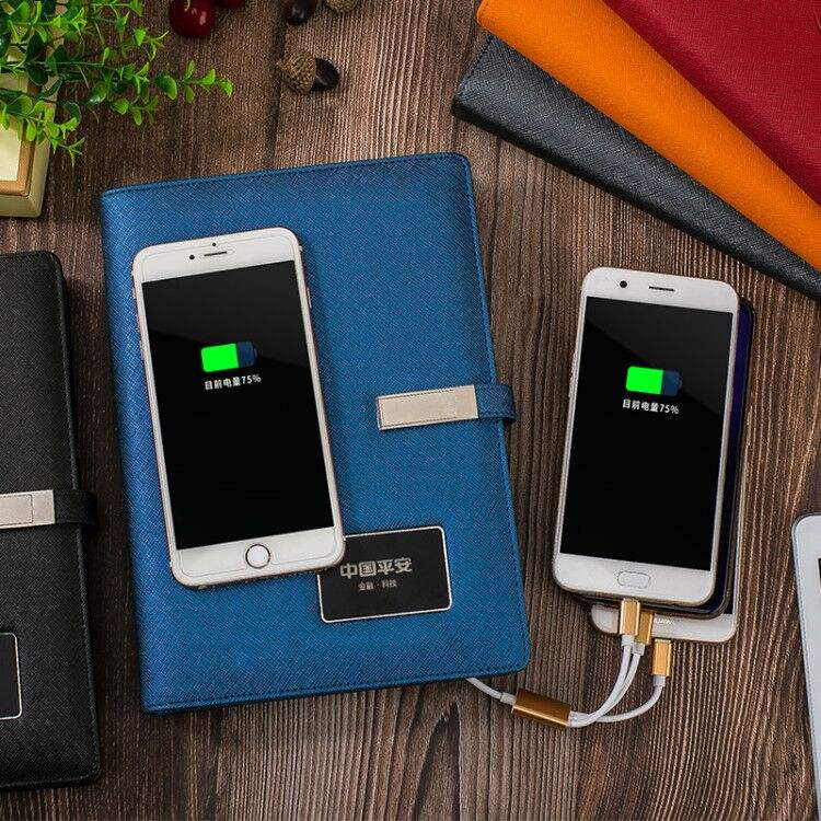 LED logo wireless charging notebook for meetings
