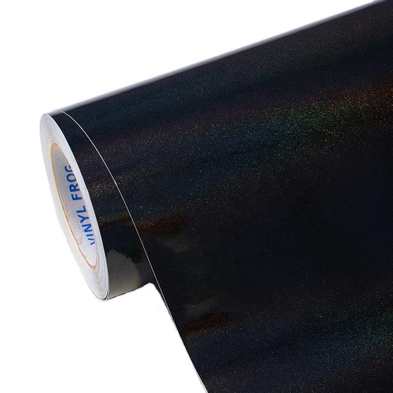 DIY hava kabarcığı ücretsiz araba kapı galvanik vücut dekorasyon filmi gökkuşağı metalik Majestic siyah otomatik <span class=keywords><strong>vinil</strong></span> şal
