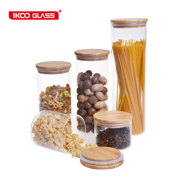 Modern design air tight glass containers food wood top
