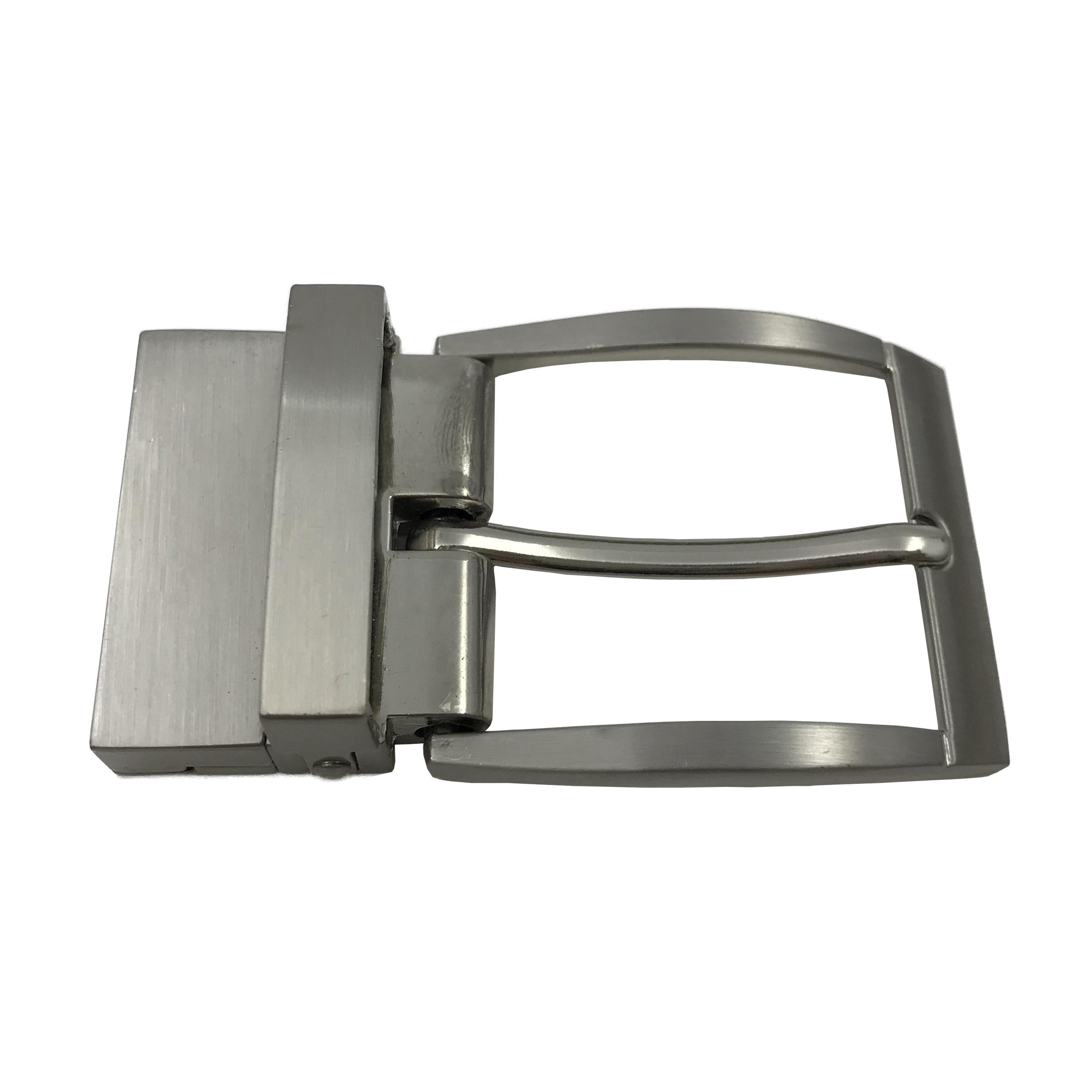 Custom-made zinc alloy reversible brushed nickle color pin clamp belt clip buckle metal seat belt buckle hardware supplier