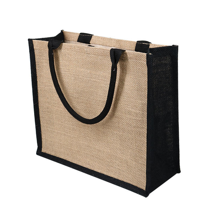 Custom Printed Burlap Handbag Eco Reusable Shopping Jute Tote Bag