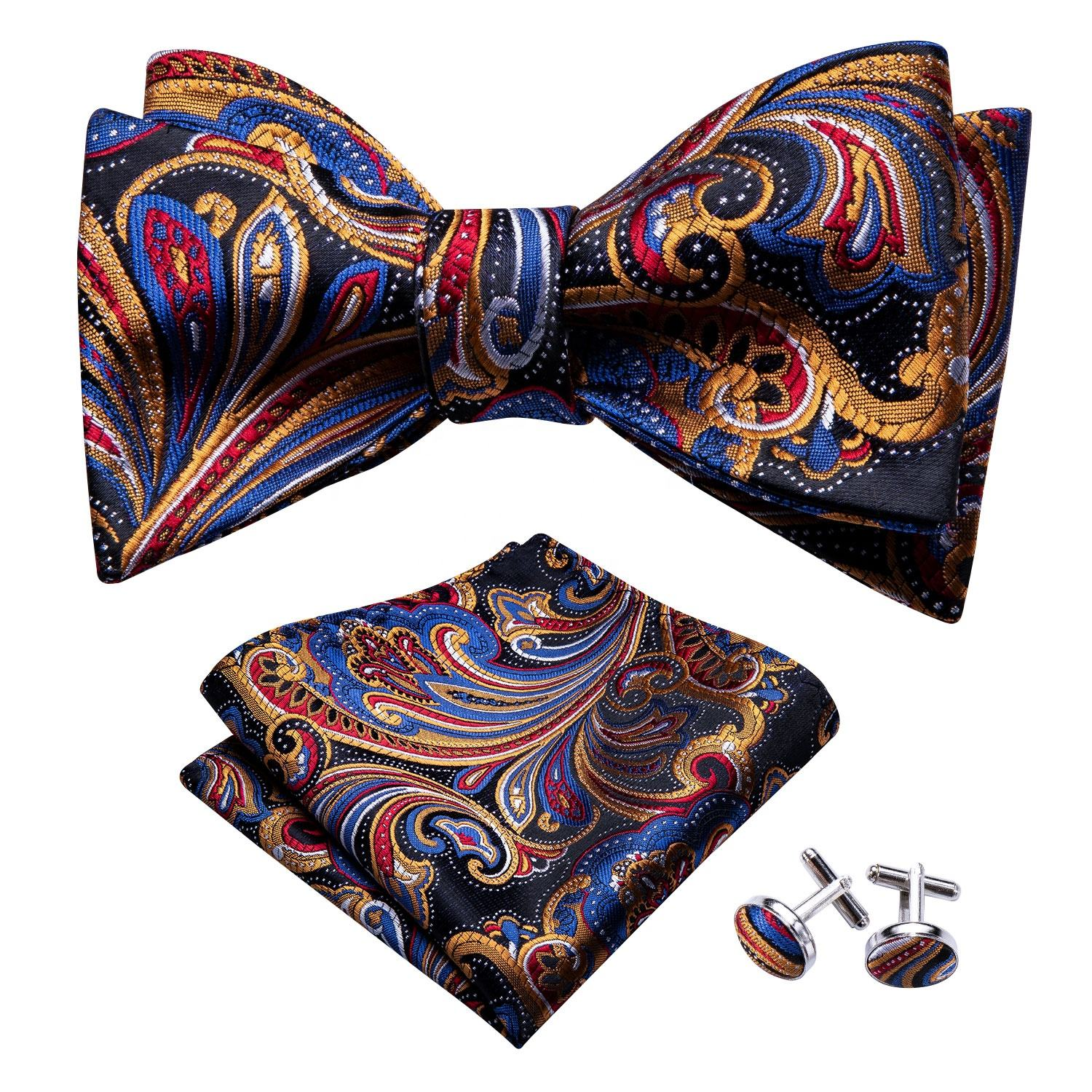 Fancy Colourful Flower Gourd Bow Tie Silk Bowtie Set for Party
