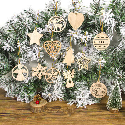 Christmas Three-dimensional Hollow Wooden Hanging Pendants Christmas Tree Angel bell Christmas Tree DIY Ornament New Year Gift