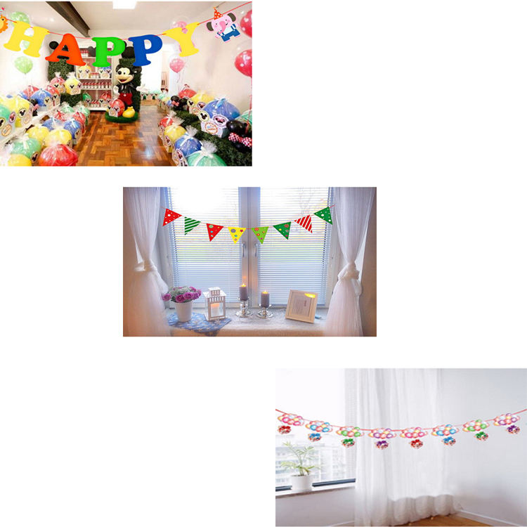 Party Supplies Festival Classroom Kindergarten Scene Layout Hanging Flag Banner Pull Flower Decoration Paper Colorful Flags