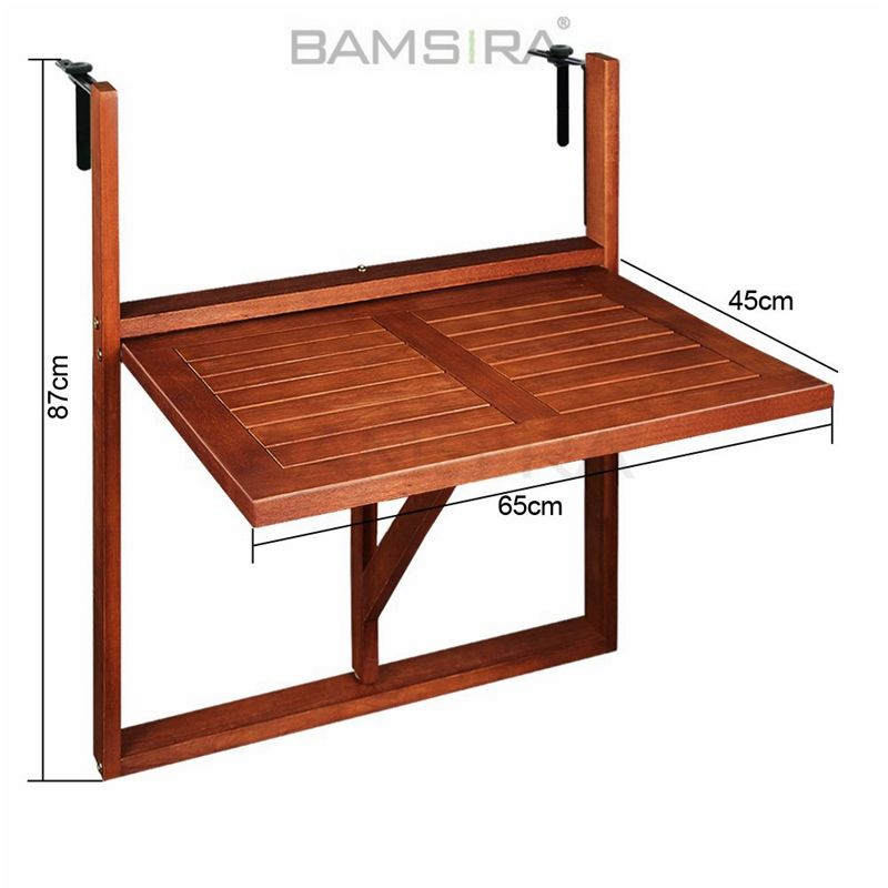 Foldable Hanging Balcony Table Made from Durable Bamboo/Bamsira_BSCI
