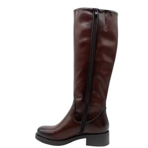 Fashion cheap low heel knee high brown leather women boots covers