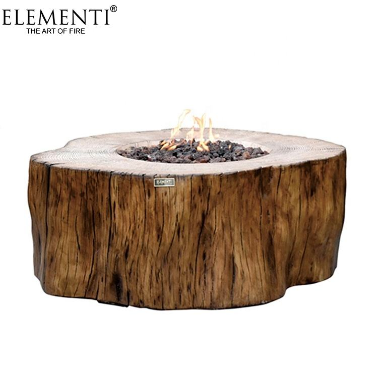 Elementi Redwood color antique grc outdoor propane fire pit table gas