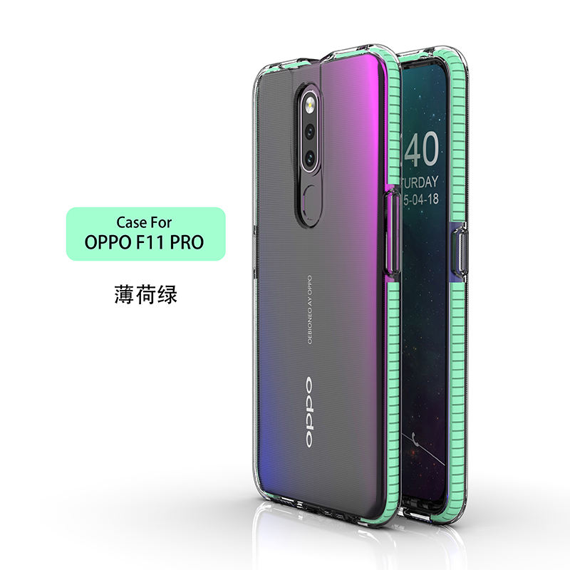Fashion soft Two-color Anti-collision Anti-fall transparent TPU Mobile phone case mobile phone accessories For Oppo F11 Pro