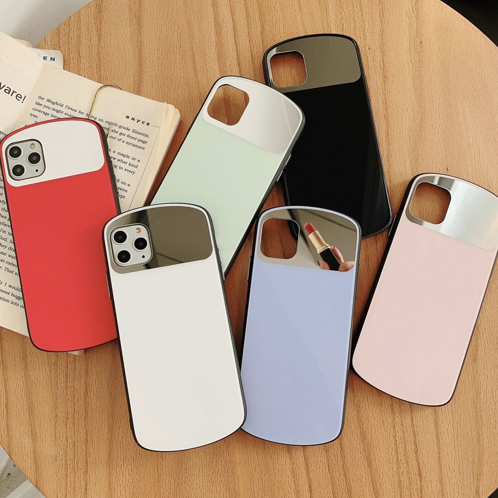 "Fashion Shield for iPhone 11 Glass Case 11Pro Max 6.1"" Blank Custom Cellphone Cases with Mirror Tempered Glasses 7 8 Plus Covers"