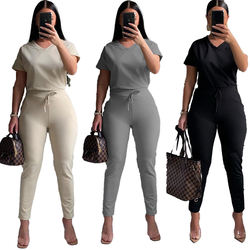 grs21 Street Wear Sportswear Pure Color Two Piece Suit Tights Large Size Women's Wear Plus Size Women's Suit