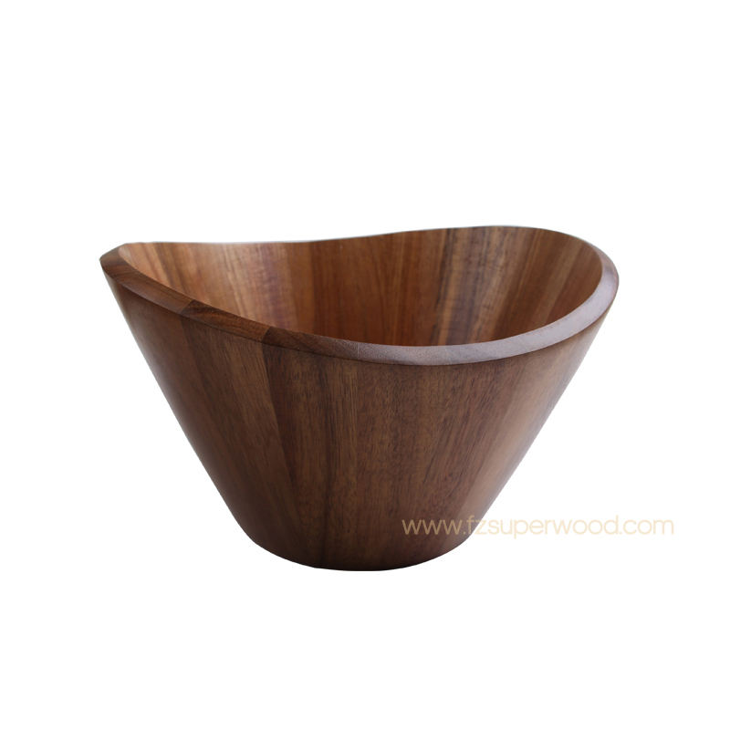 Hottest Selling Custom Large Kitchen Acacia Wooden Wavy Salad Bowl