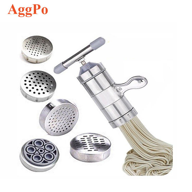 5 Molds Household Manually Small Stainless Steel Pressing Style Handhold Noodle Machine Kitchen Tool Manual Noodle Maker