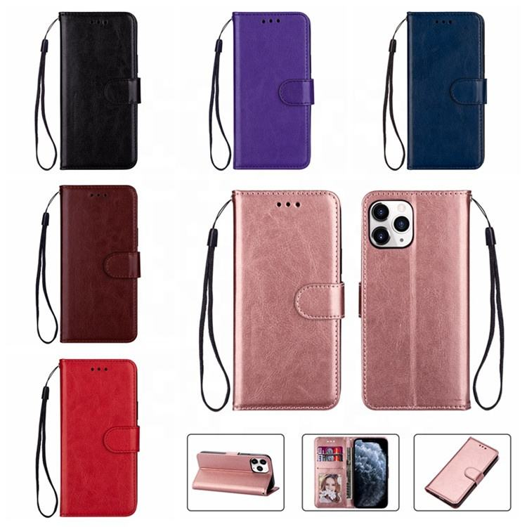 Plain Leather Wallet Cases For Iphone 12 Mini 12 Pro Max 11 Pro XR XS MAX 8 7 6 Plus Mobile Cover Phone Flip Holder Purse Pouch
