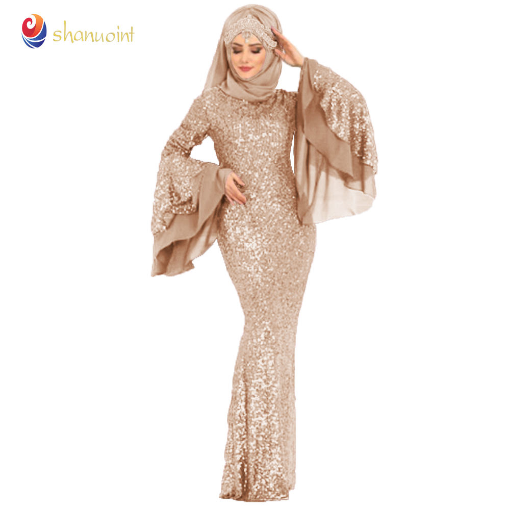 High Quality Islamic Clothing Women Shiny Sequin Fishtail Evening Dress For Muslim Party
