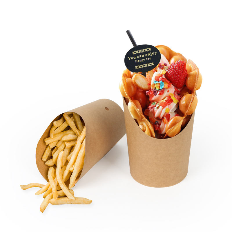 brown kraft chip french fries disposable paper cup snack food grade cup
