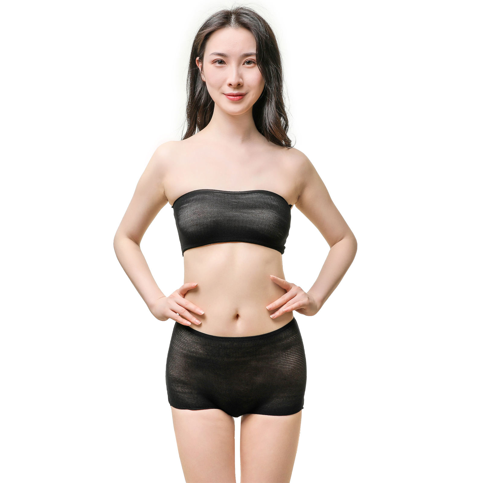 Seamless nylon women and men spa panties disposable underwear and bra