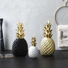 Pineapple Ornament Synthetic Resin Individual Metal Finishes Craft  Nordic Modern Home DecorWindow Desktop Display Props