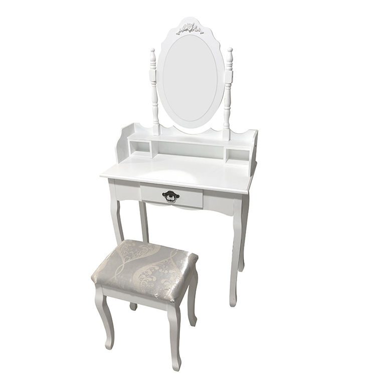 K&B vanity modern wooden MDF large dressing table set makeup dresser dressing table with mirror and stool