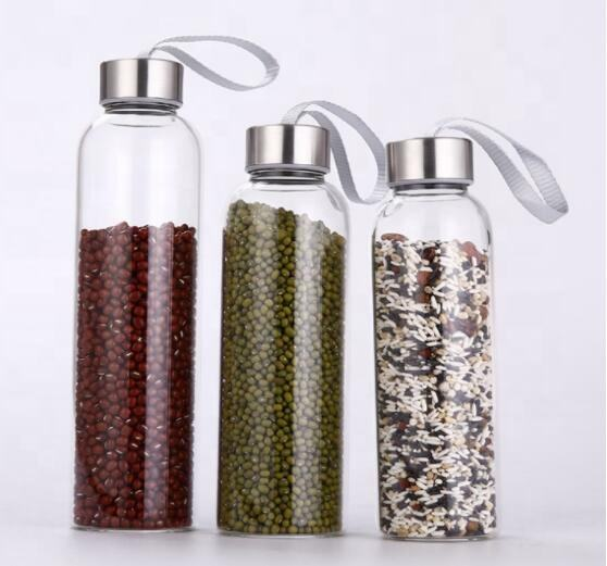 Wholesale Free Sample 500ml High quality reusable stainless steel lid glass water bottle