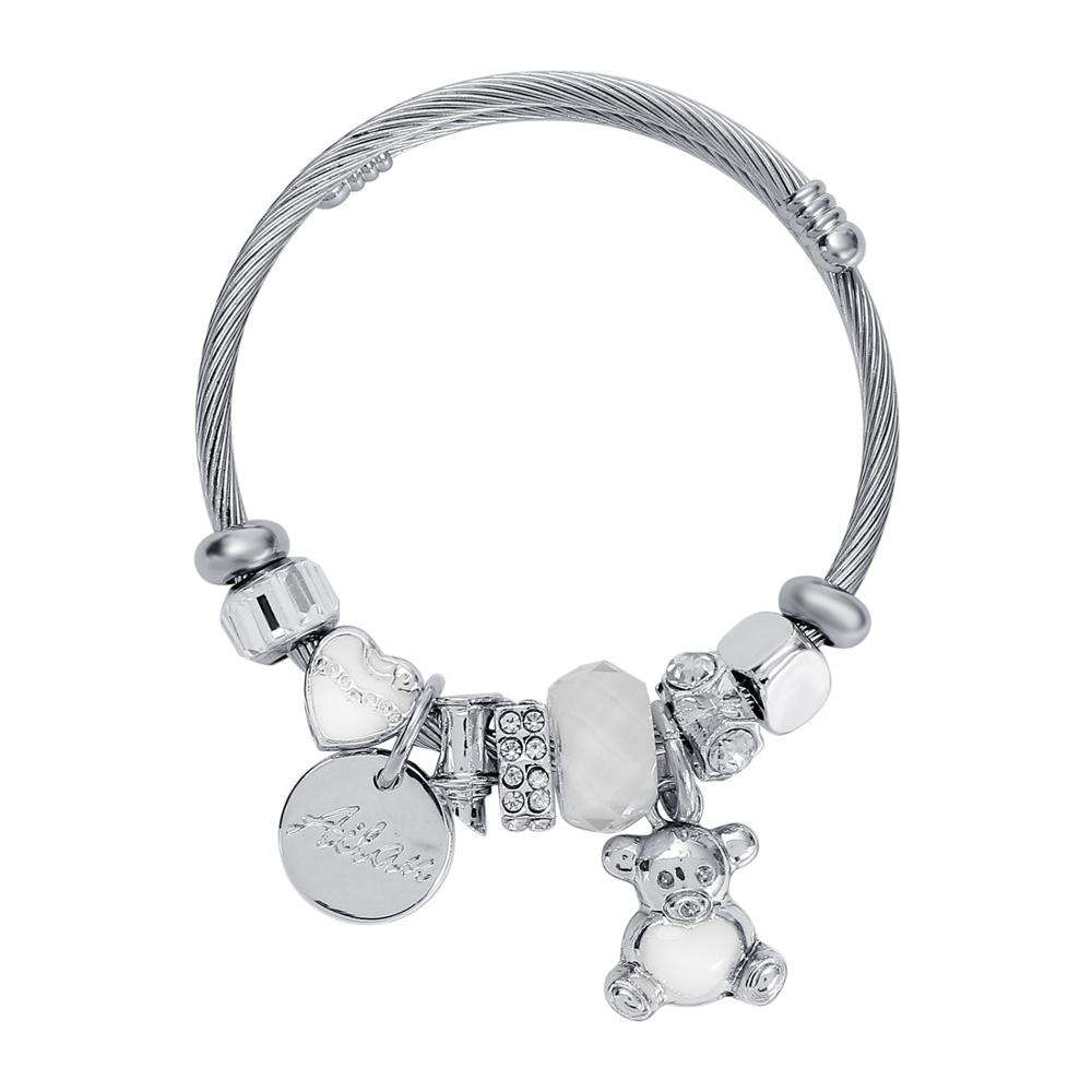 Romantic Bear Charm Bracelet With Client's Own Logo Engraved Stainless Steel Jewelry 2020 Hot Selling Lady Fashion Cuff Bracelet