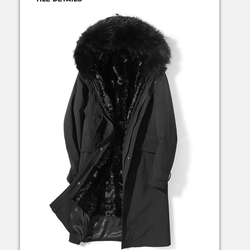 Wholesaler Men's Fashion parka with real fox fur collar and real mink fur for lining  for men winter