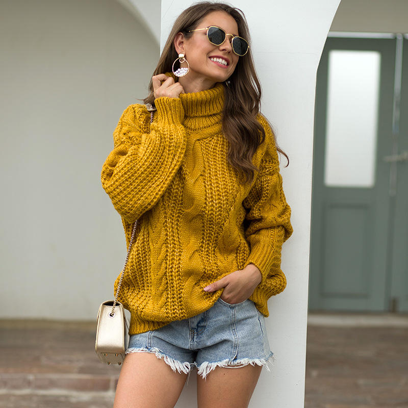 Pullover Women Sweater New Design Autumn Winter Chunky Cable Design High Neck Pullover Sweater For Women