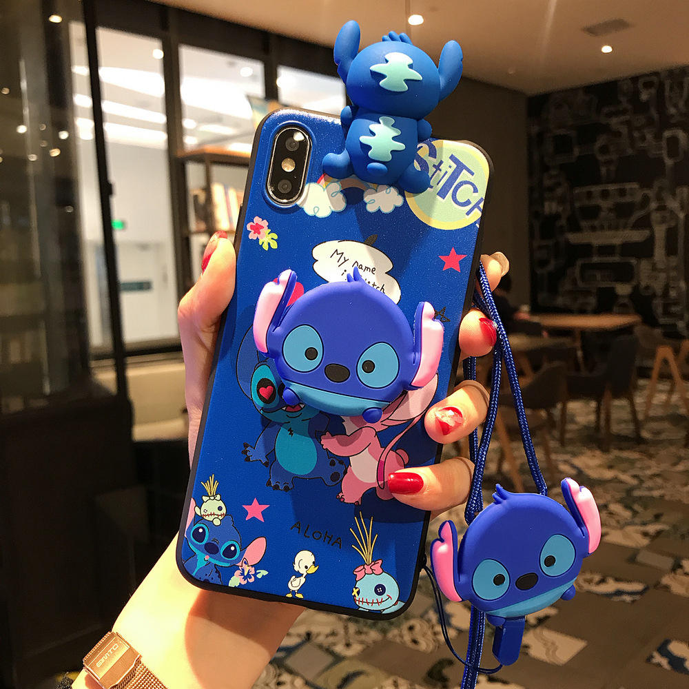 3D Cartoon Poohs Stitch Air Bag Cell Phone Bracket IMD Case stitch case For iPhone 6 6S 7 8 Plus X XS XR XS MAX