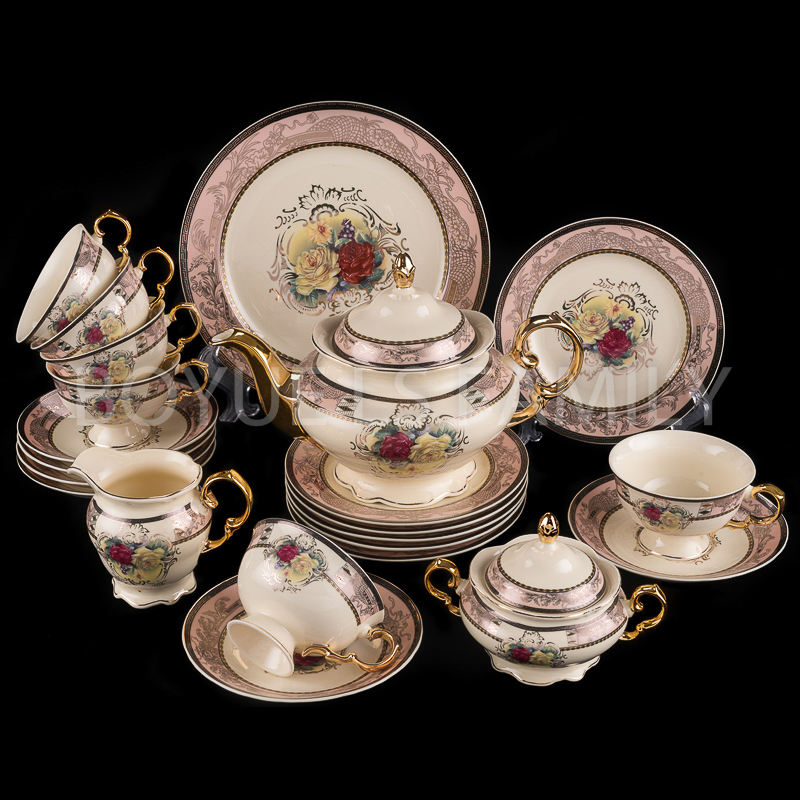 Good market ceramic 24pcs dinnerware coffee set 17pcs coffee set 12pcs tea set new design tableware for daily use