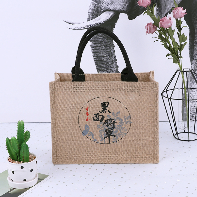 NO MOQ cute reusable jute shopping tote bag together with bear