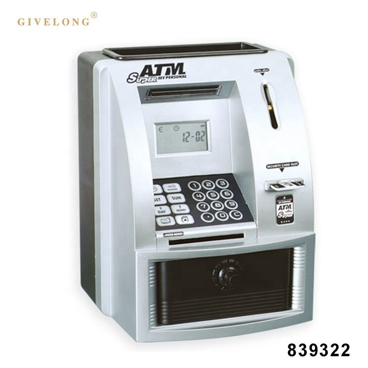 battery operated simulation atm bank toys with lights sound