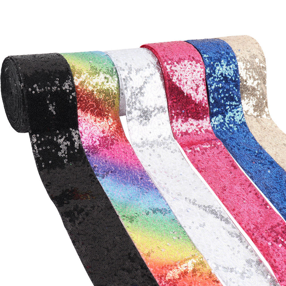 Hot 3 inches width 75mm Sequin print glitter fabric ribbon of cute colors for bows