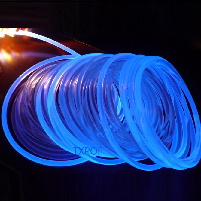 2mm 3mm 4mm 6mm 10mm 14mm side glow fiber optic, solid plastic fiber optic light for decoration