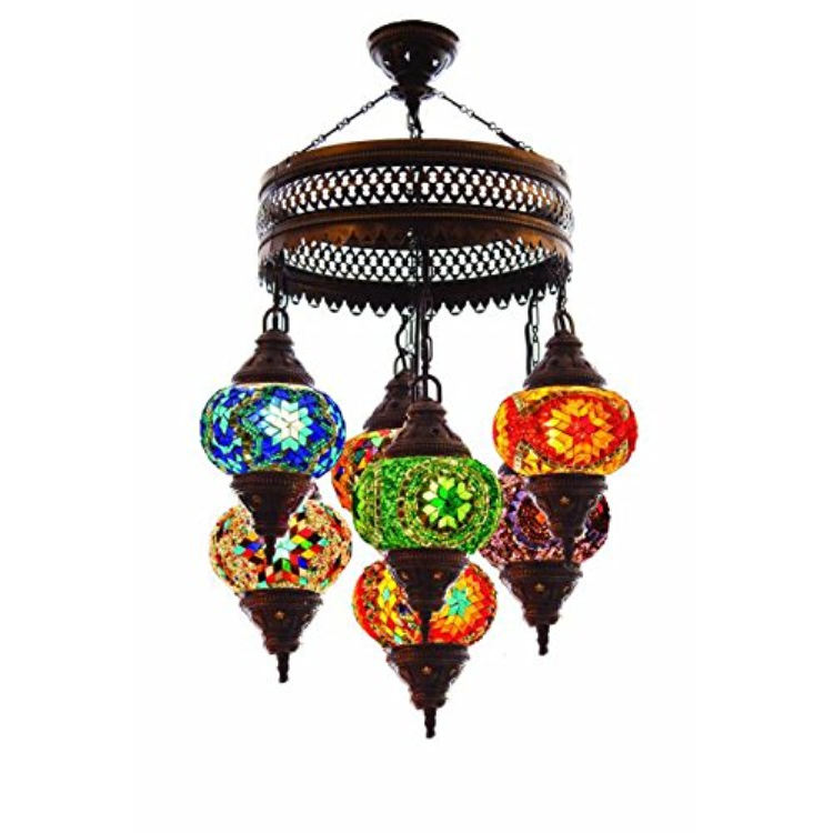 Mediterranean retro living room cafe Chandelier Turkish romantic Ceiling Light ethnic style mosaic multi-head pendant lamp