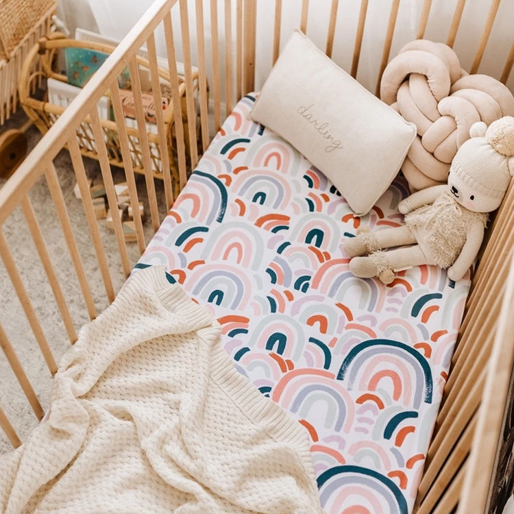 organic bamboo cotton muslin material crib cot sheet fitted sheet