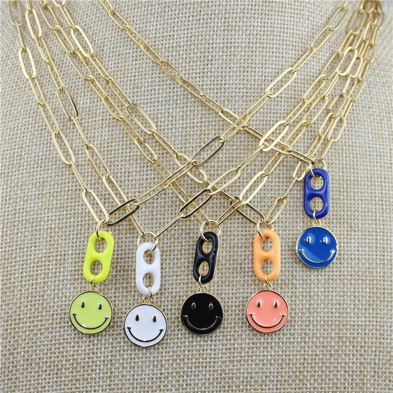 CH-JEN0301 Popular smile charm necklace,plated colorful enamel smile/pig nose charm,chic paper clip link chain