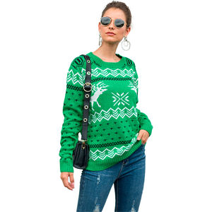 Wholesale Reindeer Fashion Cartoon Pattern Christmas Pullovers Sweater
