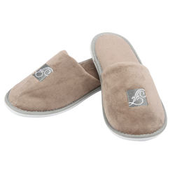 Luxury Disposable Cotton Velour Hotel Slipper with logo embroidery