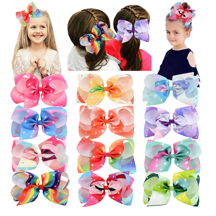 6 Inches Jojo Siwa Hair Clips Grosgrain Ribbon Alligator Bow Hair Accessories for Girls Toddlers Kids Children