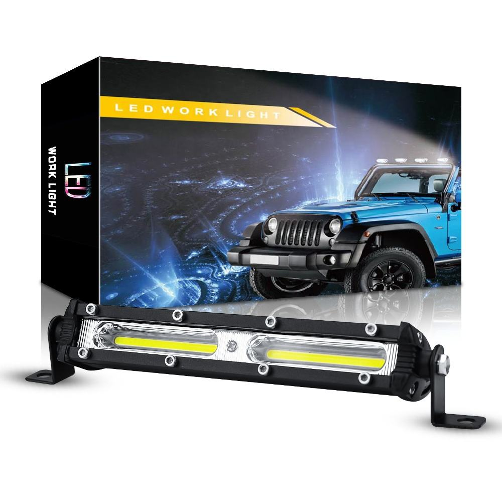 DXZ Ultra-thin Single Row 6 Inch COB 18W Car Work Light Bar LED Strip Light for Off Road Car SUV ATV Truck